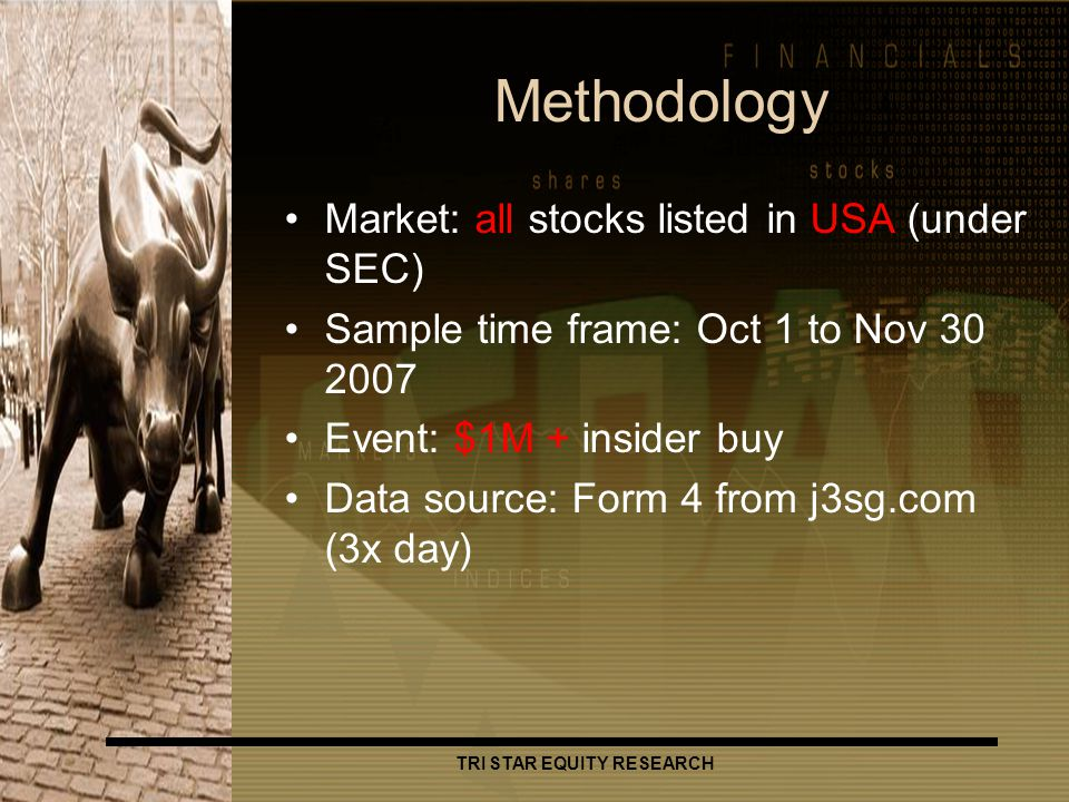 TRI STAR EQUITY RESEARCH Methodology Market: all stocks listed in USA (under SEC) Sample time frame: Oct 1 to Nov 30 2007 Event: $1M + insider buy Data source: Form 4 from j3sg.com (3x day)