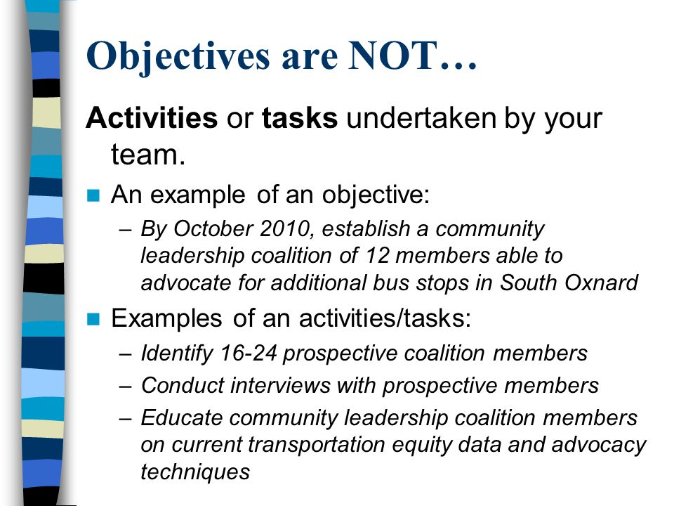 Objectives are NOT… Activities or tasks undertaken by your team.