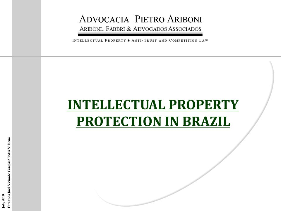 OVERVIEW POLITICAL AND ECONOMIC BACKGROUND – Monetary and political stability – Economic growth and attracting foreign investments – Need to adequate Brazil to international legal standards (IP included) LEGAL FRAMEWORK – Main international treaties (Paris, Berne, PCT and UPOV); – TRIPS Agreement (1994) – Enactment of new laws: Industrial property (1996) Cultivars (1997) Copyright and software (1998) Topography of integrated circuits (2007)
