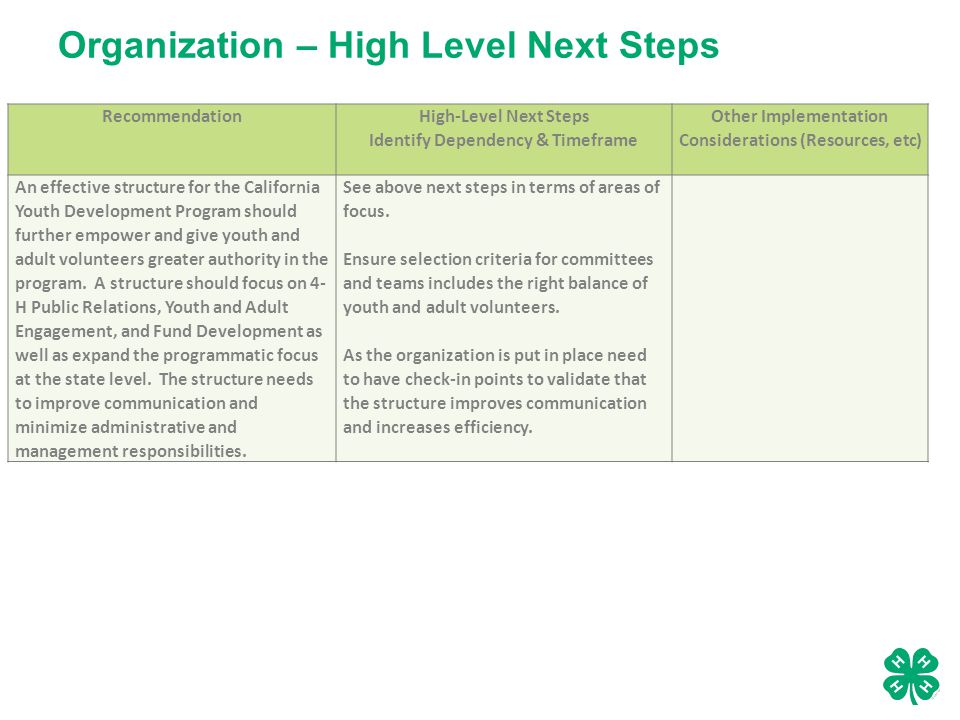 Organization – High Level Next Steps Recommendation High-Level Next Steps Identify Dependency & Timeframe Other Implementation Considerations (Resources, etc) An effective structure for the California Youth Development Program should further empower and give youth and adult volunteers greater authority in the program.