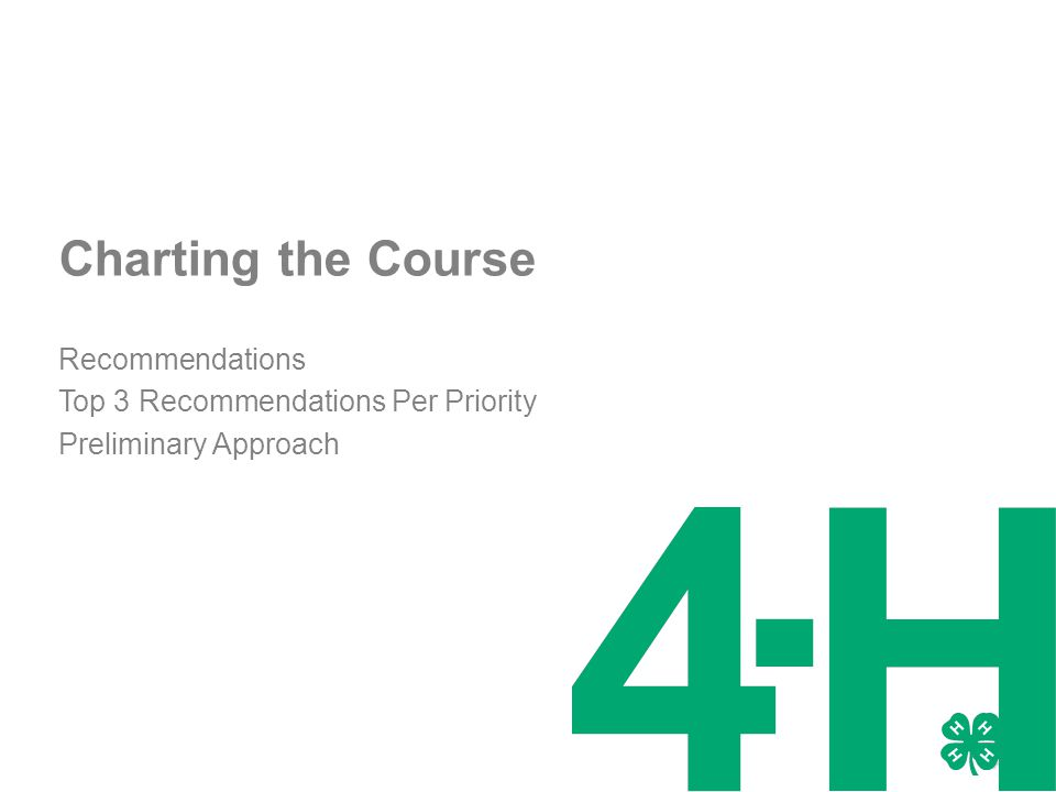 Charting the Course Recommendations Top 3 Recommendations Per Priority Preliminary Approach