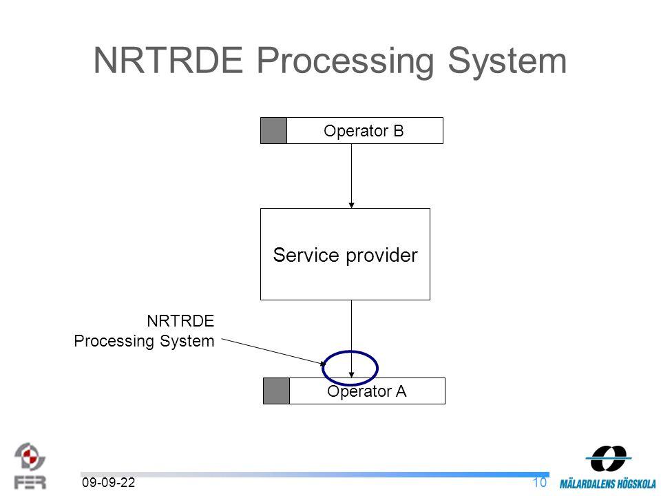 1009-09-22 NRTRDE Processing System Service provider Operator A Operator B NRTRDE Processing System