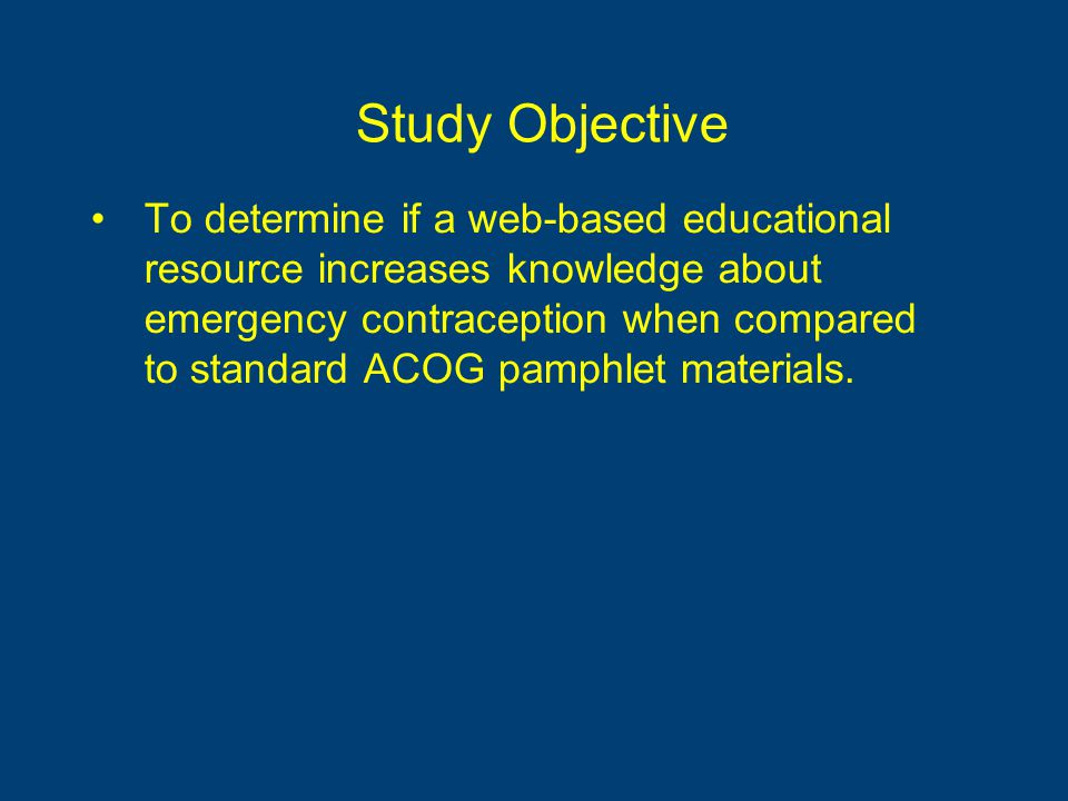 Study Objective To determine if a web-based educational resource increases knowledge about emergency contraception when compared to standard ACOG pamphlet materials.