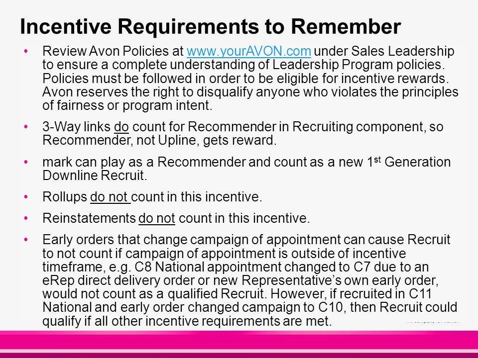 Incentive Requirements to Remember Review Avon Policies at www.yourAVON.com under Sales Leadership to ensure a complete understanding of Leadership Program policies.
