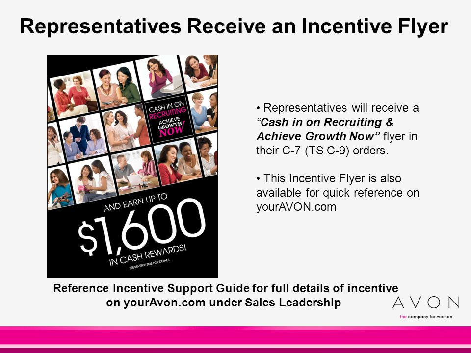 Representatives Receive an Incentive Flyer Representatives will receive a Cash in on Recruiting & Achieve Growth Now flyer in their C-7 (TS C-9) orders.