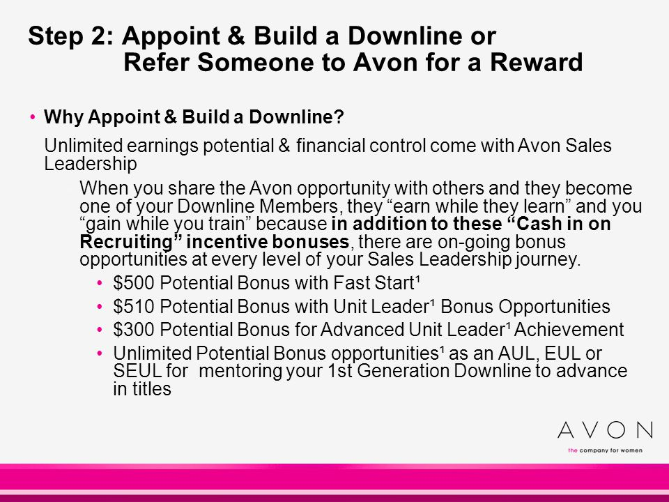 Step 2: Appoint & Build a Downline or Refer Someone to Avon for a Reward Why Appoint & Build a Downline? Unlimited earnings potential & financial cont