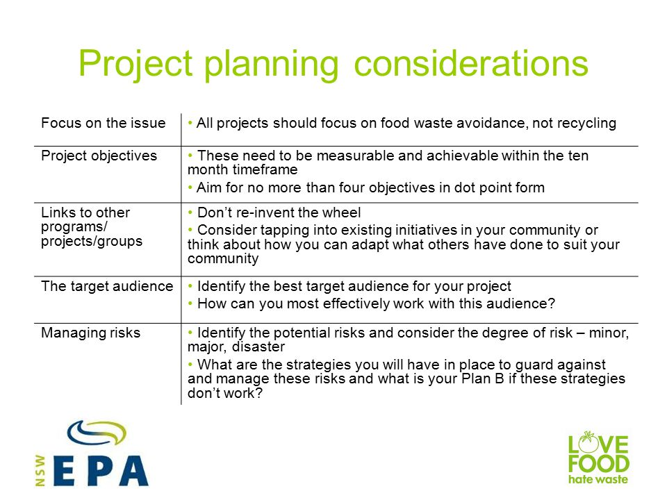 Project planning considerations Focus on the issue All projects should focus on food waste avoidance, not recycling Project objectives These need to be measurable and achievable within the ten month timeframe Aim for no more than four objectives in dot point form Links to other programs/ projects/groups Don't re-invent the wheel Consider tapping into existing initiatives in your community or think about how you can adapt what others have done to suit your community The target audience Identify the best target audience for your project How can you most effectively work with this audience.