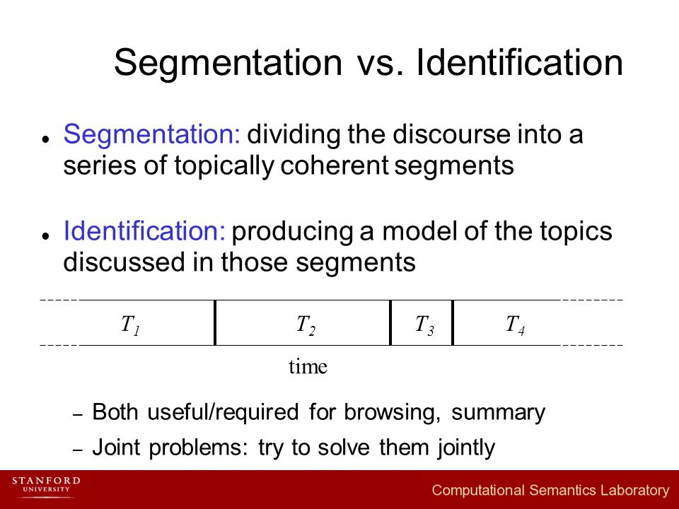 Segmentation vs. Identification Segmentation: dividing the discourse into a series of topically coherent segments Identification: producing a model of