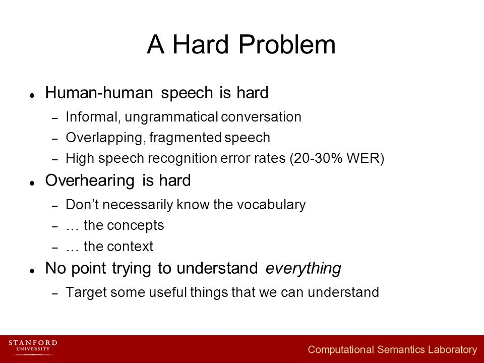 Human-human speech is hard – Informal, ungrammatical conversation – Overlapping, fragmented speech – High speech recognition error rates (20-30% WER) Overhearing is hard – Don't necessarily know the vocabulary – … the concepts – … the context No point trying to understand everything – Target some useful things that we can understand