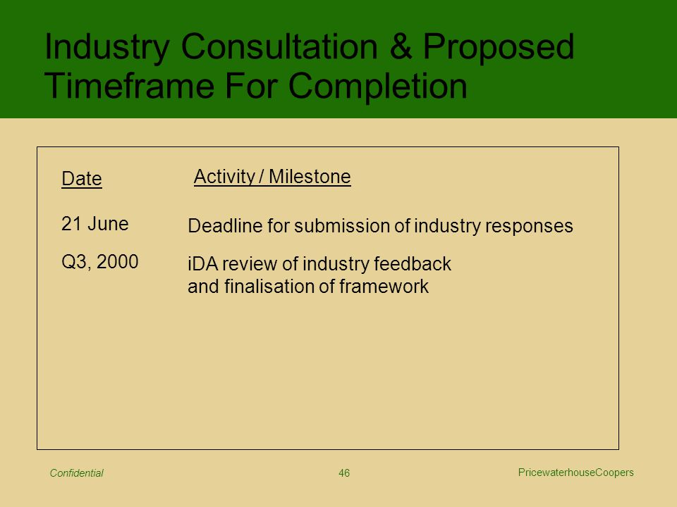 PricewaterhouseCoopers Confidential 46 Industry Consultation & Proposed Timeframe For Completion Date Activity / Milestone 21 June Q3, 2000 Deadline for submission of industry responses iDA review of industry feedback and finalisation of framework