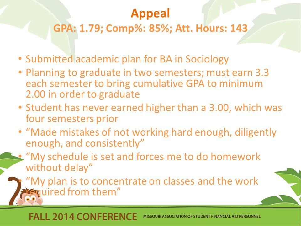 Appeal GPA: 1.79; Comp%: 85%; Att.