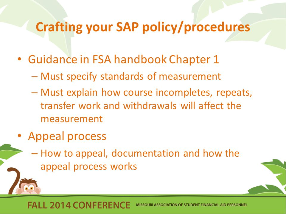 Crafting your SAP policy/procedures Guidance in FSA handbook Chapter 1 – Must specify standards of measurement – Must explain how course incompletes, repeats, transfer work and withdrawals will affect the measurement Appeal process – How to appeal, documentation and how the appeal process works