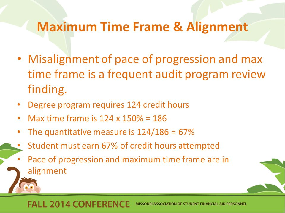 Maximum Time Frame & Alignment Misalignment of pace of progression and max time frame is a frequent audit program review finding.