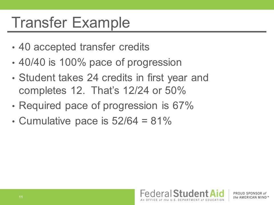 Transfer Example 40 accepted transfer credits 40/40 is 100% pace of progression Student takes 24 credits in first year and completes 12.