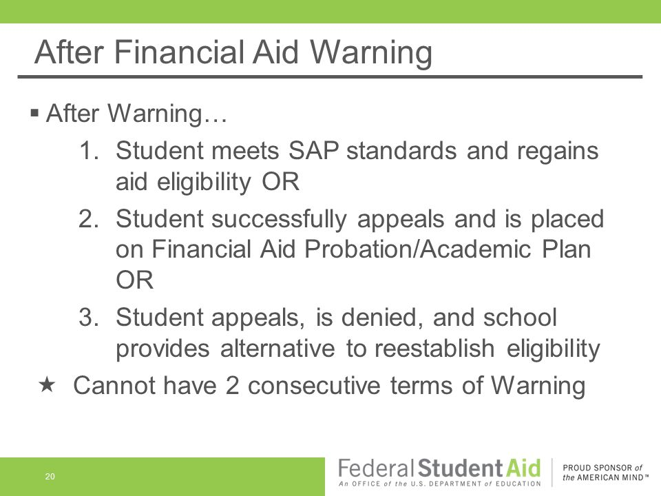 After Financial Aid Warning 20  After Warning… 1.Student meets SAP standards and regains aid eligibility OR 2.Student successfully appeals and is placed on Financial Aid Probation/Academic Plan OR 3.Student appeals, is denied, and school provides alternative to reestablish eligibility  Cannot have 2 consecutive terms of Warning