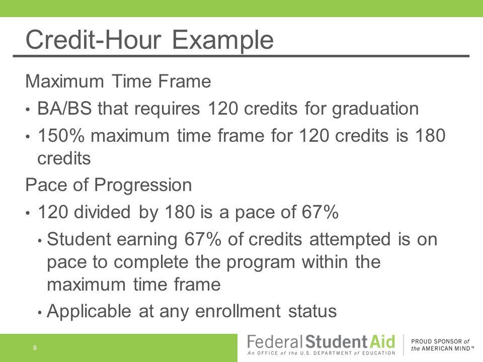 Clock-Hour Example Maximum Time Frame 1500 clock-hours 30 clock-hours per week 50 weeks of instructional time 150% of 50 weeks is 75 weeks 9