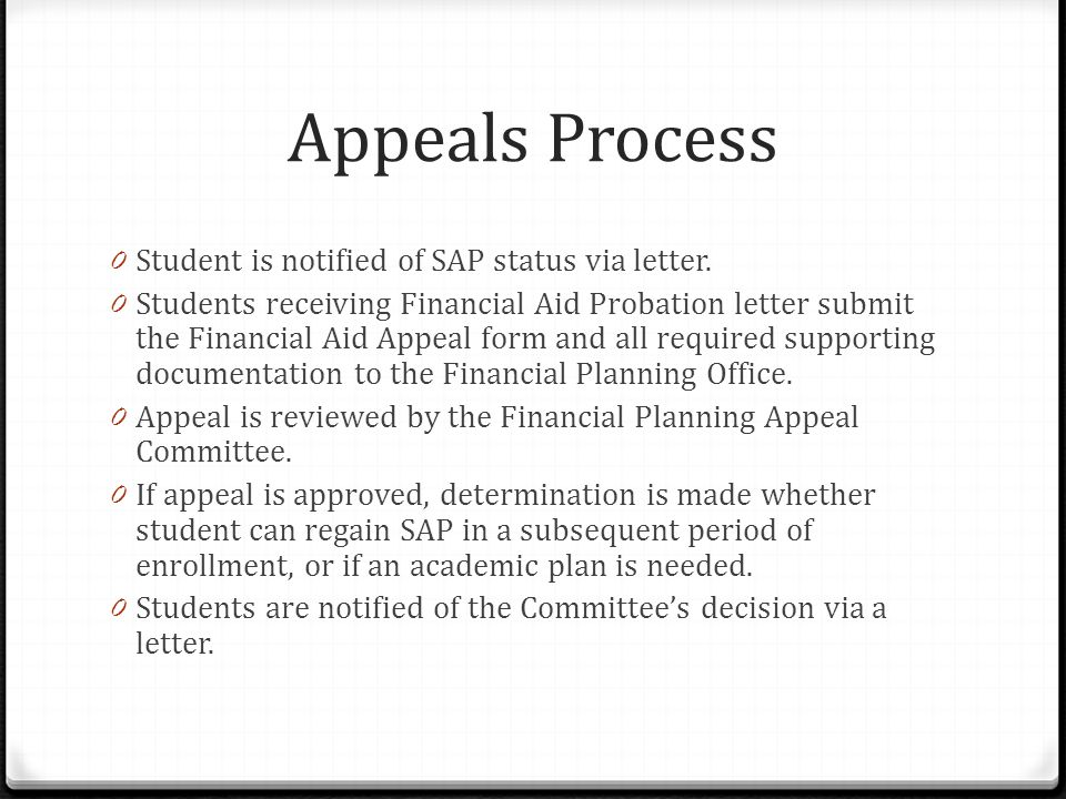 Appeals Process 0 Student is notified of SAP status via letter.