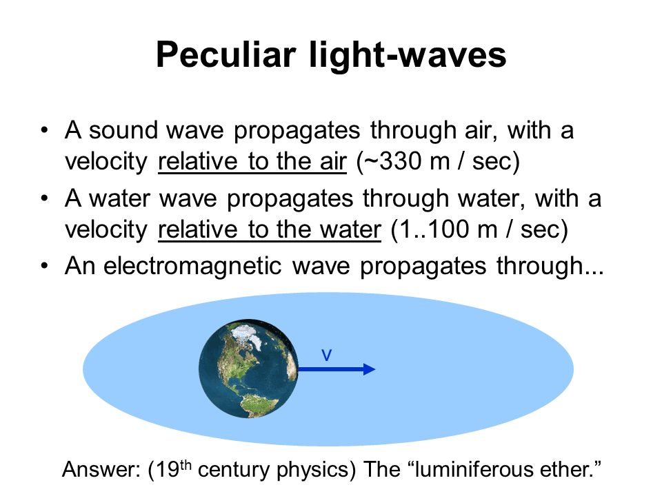 Peculiar light-waves A sound wave propagates through air, with a velocity relative to the air (~330 m / sec) A water wave propagates through water, with a velocity relative to the water (1..100 m / sec) An electromagnetic wave propagates through...