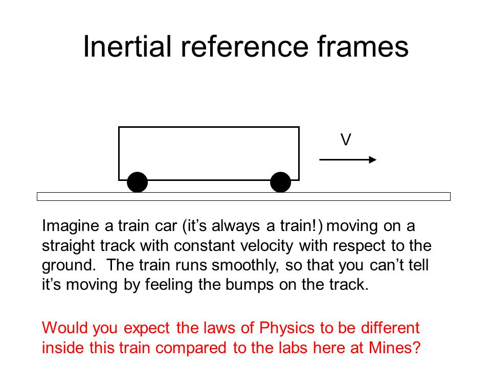 Inertial reference frames Imagine a train car (it's always a train!) moving on a straight track with constant velocity with respect to the ground.