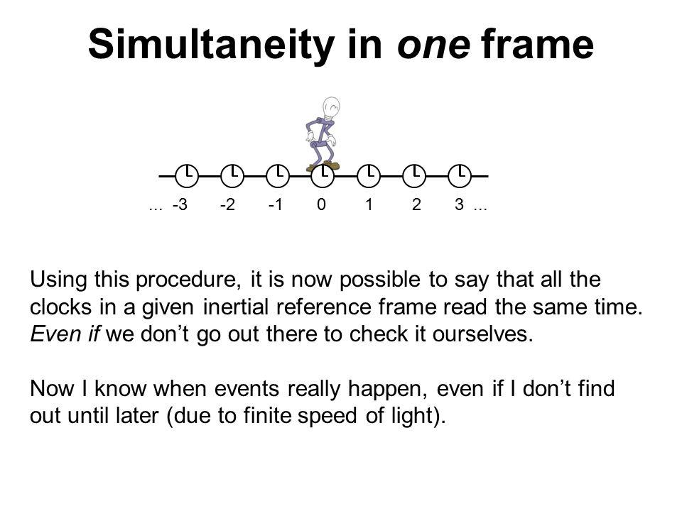 Simultaneity in one frame... -3 -2 -1 0 1 2 3...