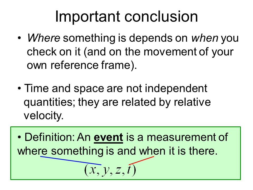Time and space are not independent quantities; they are related by relative velocity.