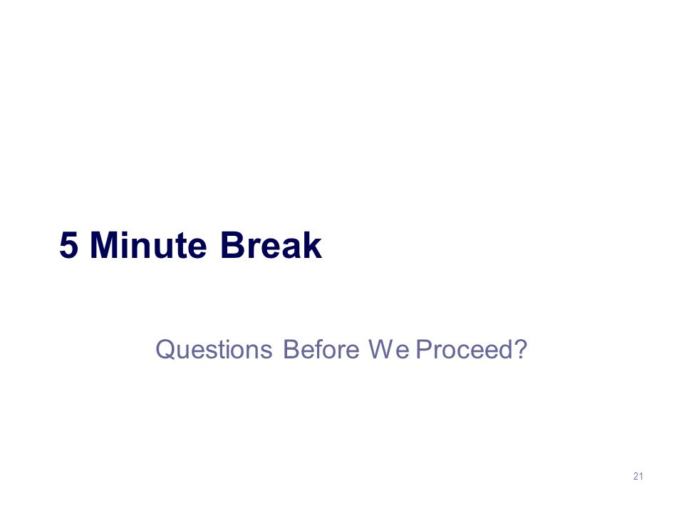 21 5 Minute Break Questions Before We Proceed
