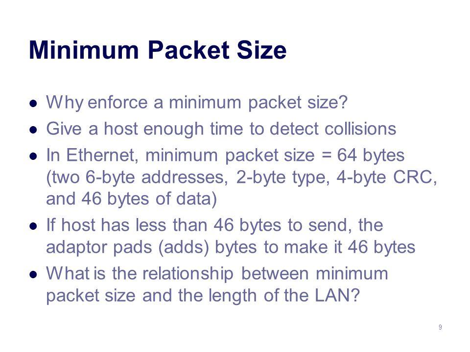 9 Minimum Packet Size Why enforce a minimum packet size.