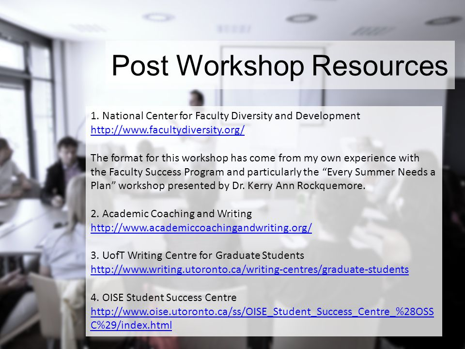 Post Workshop Resources 1.