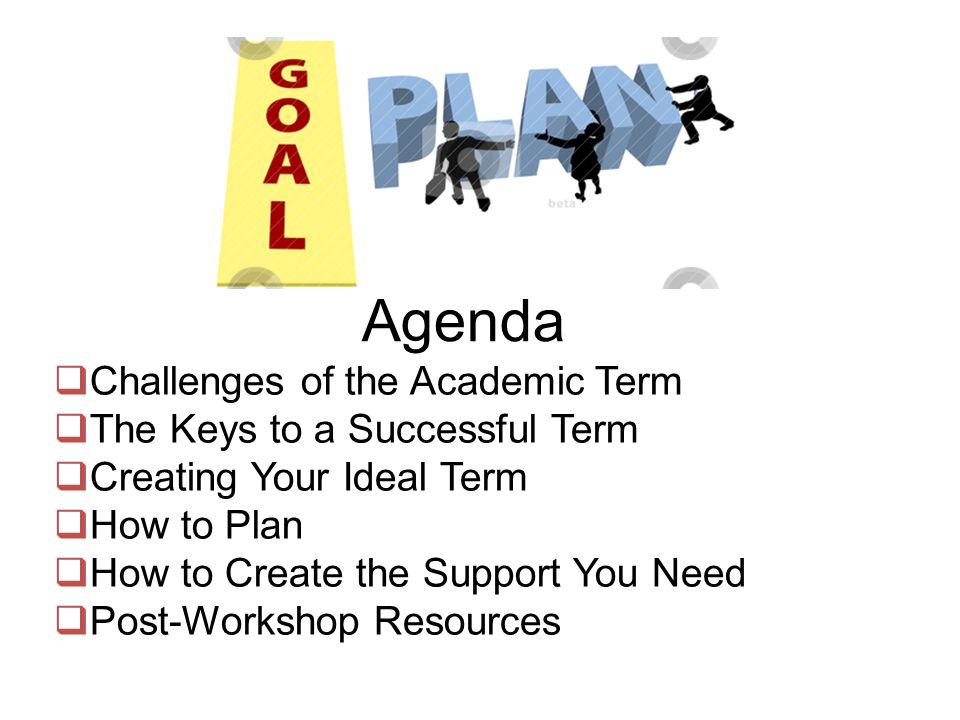 Agenda  Challenges of the Academic Term  The Keys to a Successful Term  Creating Your Ideal Term  How to Plan  How to Create the Support You Need  Post-Workshop Resources