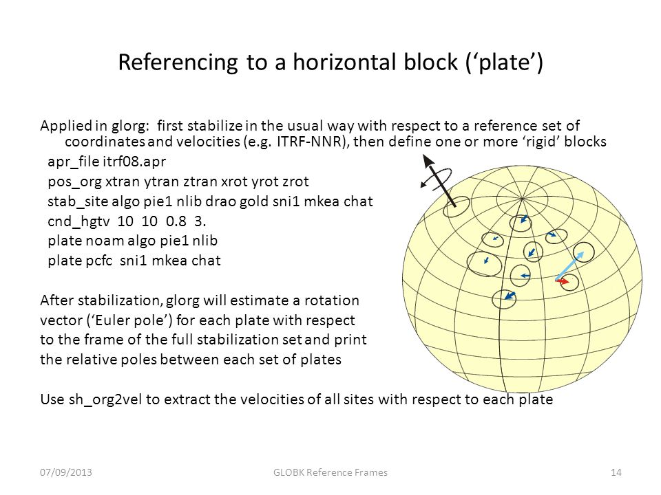 Referencing to a horizontal block ('plate') Applied in glorg: first stabilize in the usual way with respect to a reference set of coordinates and velo