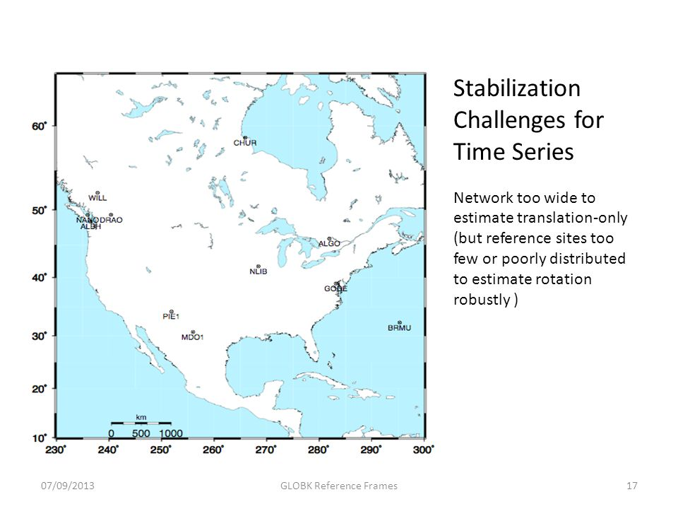 Stabilization Challenges for Time Series Network too wide to estimate translation-only (but reference sites too few or poorly distributed to estimate