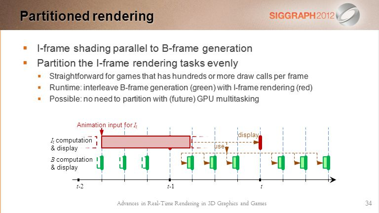  I-frame shading parallel to B-frame generation  Partition the I-frame rendering tasks evenly  Straightforward for games that has hundreds or more draw calls per frame  Runtime: interleave B-frame generation (green) with I-frame rendering (red)  Possible: no need to partition with (future) GPU multitasking Advances in Real-Time Rendering in 3D Graphics and Games 34 Partitioned rendering display use t-1t I t computation & display B computation & display Animation input for I t t-2