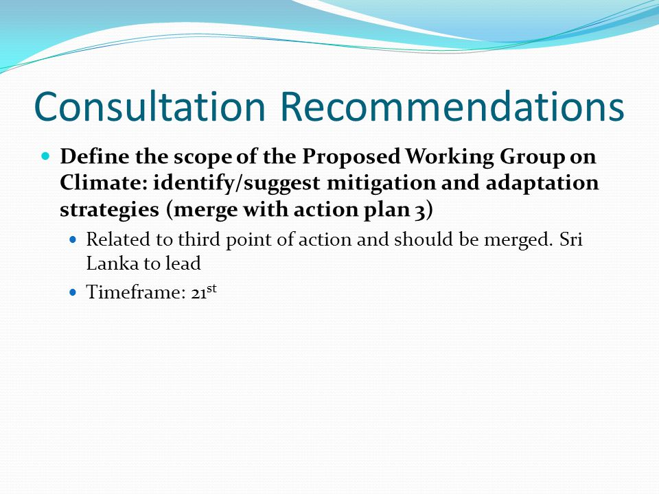 Consultation Recommendations Define the scope of the Proposed Working Group on Climate: identify/suggest mitigation and adaptation strategies (merge with action plan 3) Related to third point of action and should be merged.