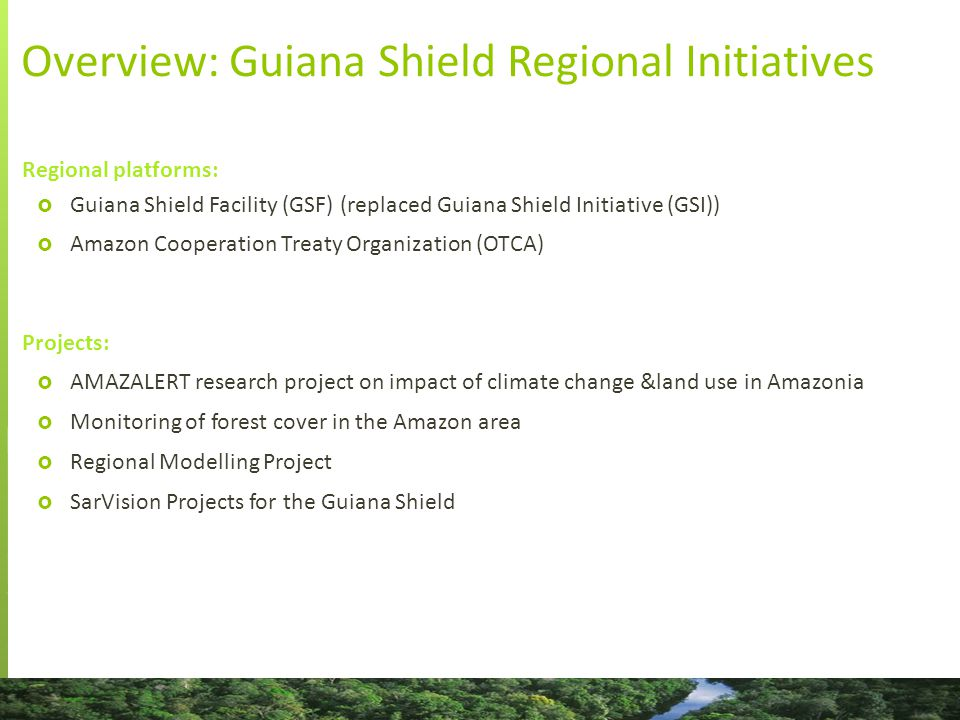 Overview: Guiana Shield Regional Initiatives Regional platforms:  Guiana Shield Facility (GSF) (replaced Guiana Shield Initiative (GSI))  Amazon Cooperation Treaty Organization (OTCA) Projects:  AMAZALERT research project on impact of climate change &land use in Amazonia  Monitoring of forest cover in the Amazon area  Regional Modelling Project  SarVision Projects for the Guiana Shield