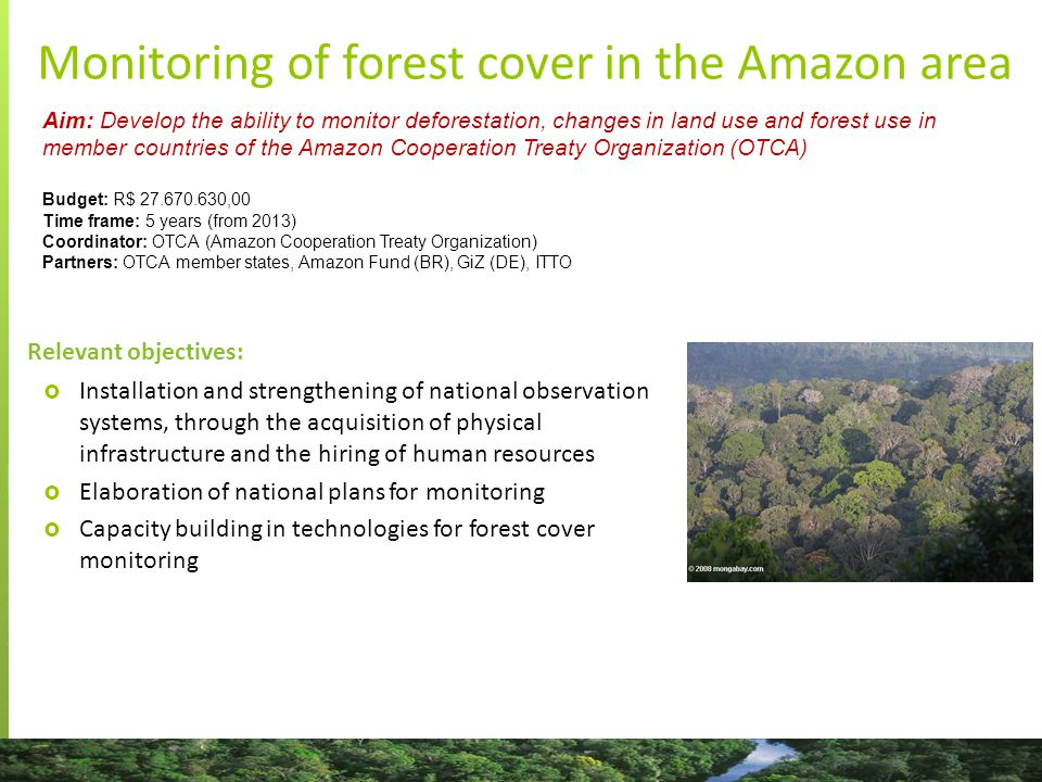 Aim: Develop the ability to monitor deforestation, changes in land use and forest use in member countries of the Amazon Cooperation Treaty Organization (OTCA) Budget: R$ 27.670.630,00 Time frame: 5 years (from 2013) Coordinator: OTCA (Amazon Cooperation Treaty Organization) Partners: OTCA member states, Amazon Fund (BR), GiZ (DE), ITTO Relevant objectives:  Installation and strengthening of national observation systems, through the acquisition of physical infrastructure and the hiring of human resources  Elaboration of national plans for monitoring  Capacity building in technologies for forest cover monitoring Monitoring of forest cover in the Amazon area