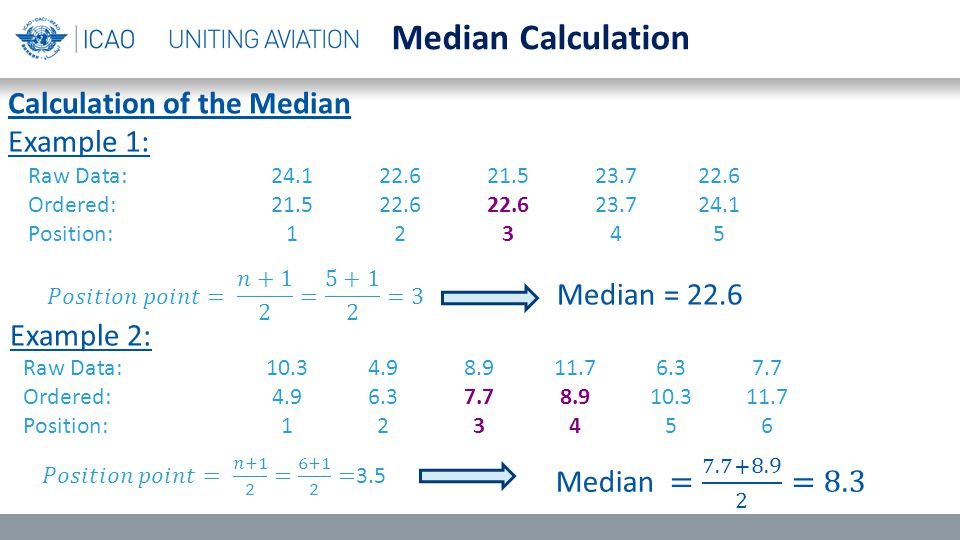 Median Calculation Raw Data:24.122.621.523.722.6 Ordered:21.522.622.623.724.1 Position:12345 Raw Data:10.34.98.911.76.37.7 Ordered:4.96.37.78.910.311.7 Position:123456 Median = 22.6 Calculation of the Median Example 1: Example 2: