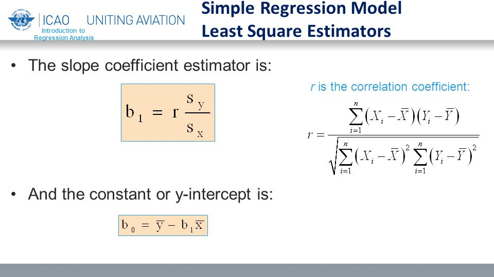 The slope coefficient estimator is: And the constant or y-intercept is: Introduction to Regression Analysis Simple Regression Model Least Square Estimators r is the correlation coefficient: