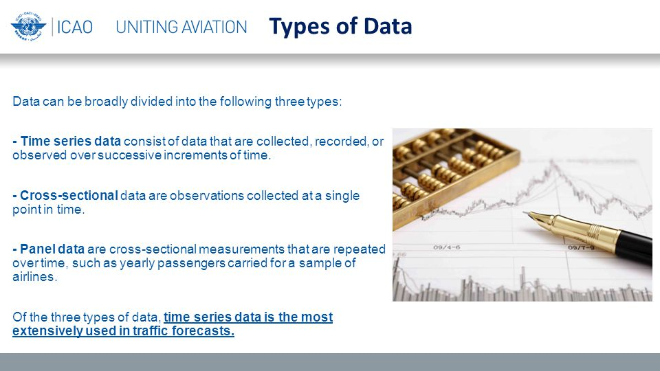 Data can be broadly divided into the following three types: - Time series data consist of data that are collected, recorded, or observed over successive increments of time.