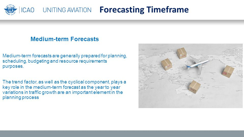 Medium-term Forecasts Medium-term forecasts are generally prepared for planning, scheduling, budgeting and resource requirements purposes.