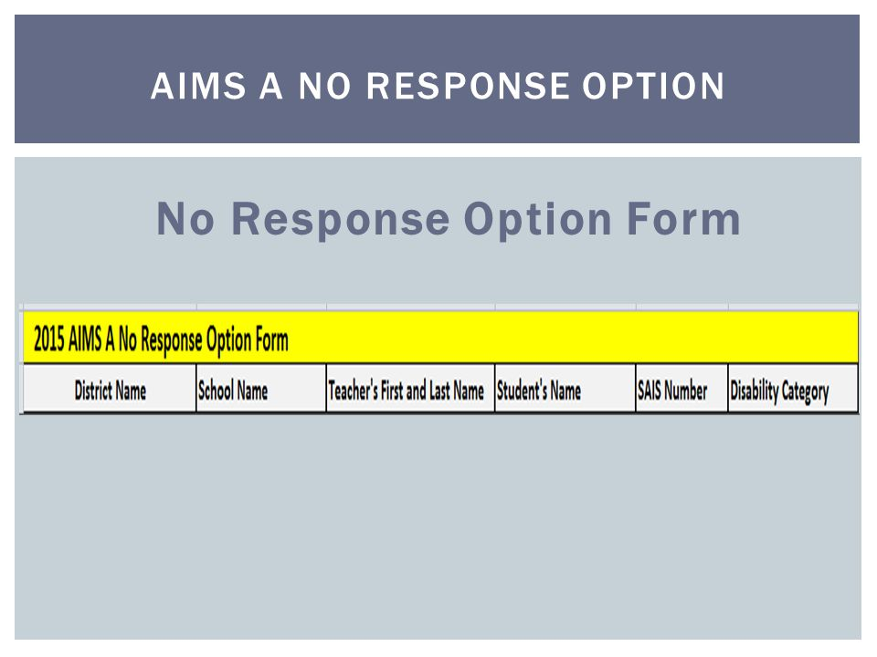 No Response Option Form AIMS A NO RESPONSE OPTION