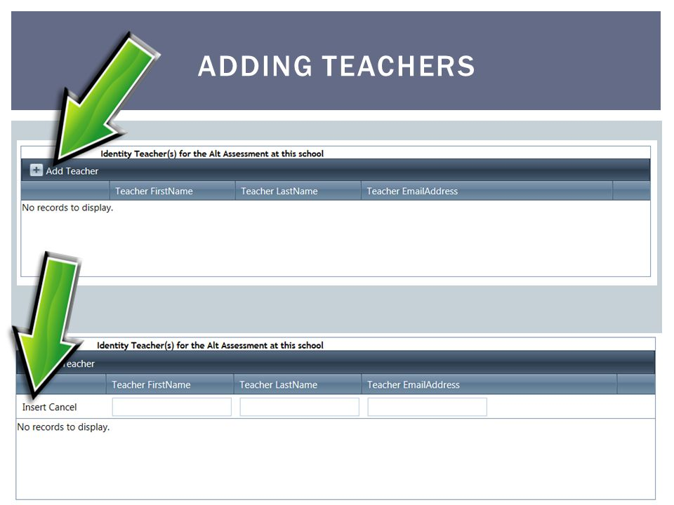 ADDING TEACHERS