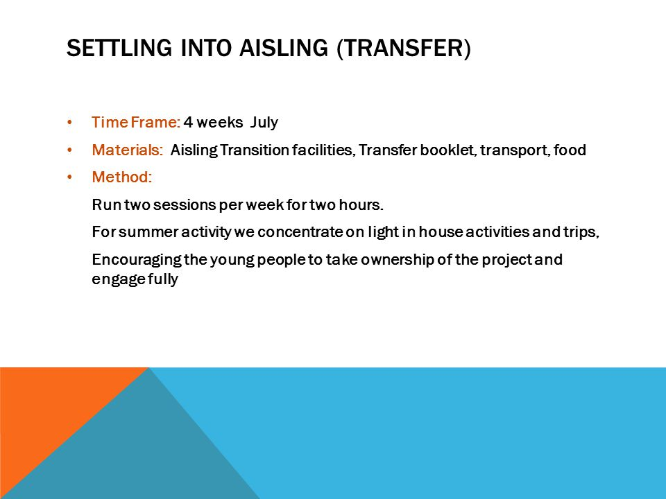 SETTLING INTO AISLING (TRANSFER) Time Frame: 4 weeks July Materials: Aisling Transition facilities, Transfer booklet, transport, food Method: Run two sessions per week for two hours.
