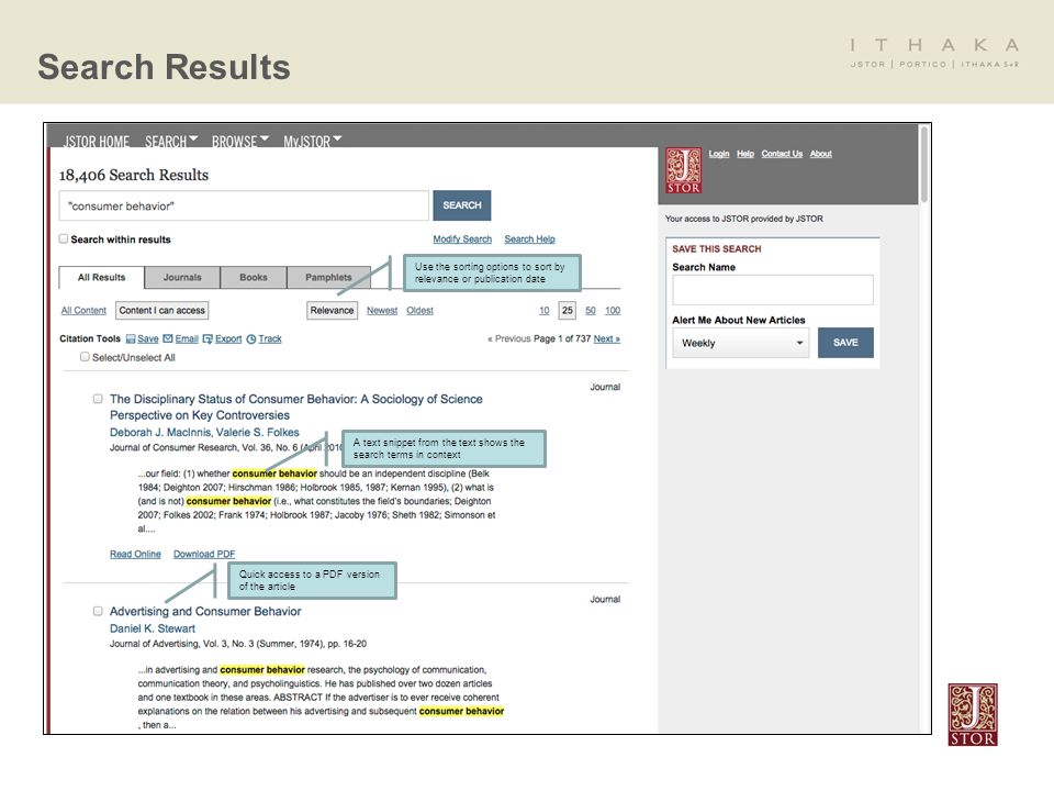 Search Results Use the sorting options to sort by relevance or publication date Quick access to a PDF version of the article A text snippet from the text shows the search terms in context