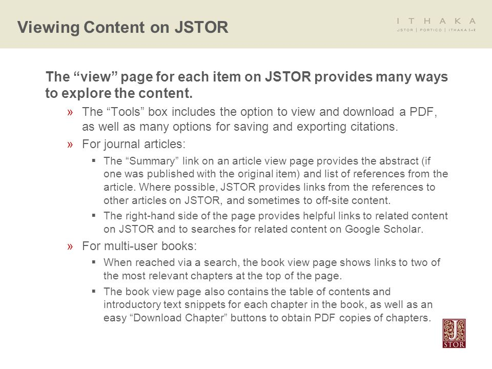 The view page for each item on JSTOR provides many ways to explore the content.