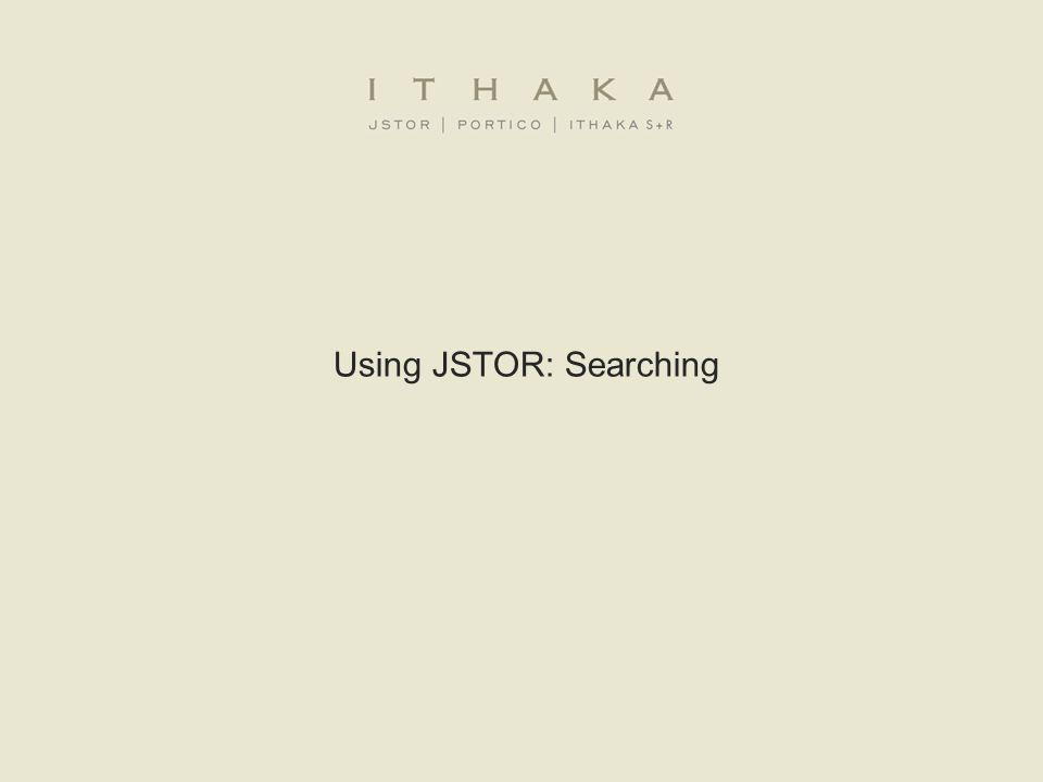 Using JSTOR: Searching