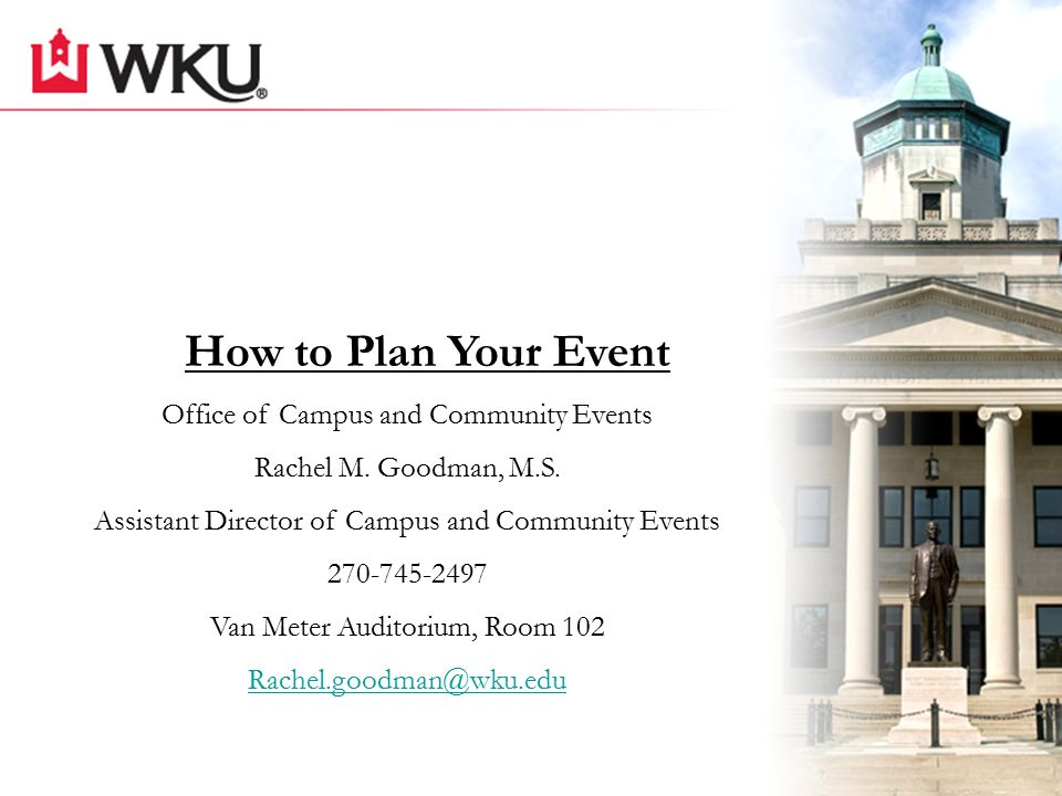 On and off campus events Plan and assist with events such as luncheons, dinners, weddings, conferences, and camps Assist in connecting YOU with on campus groups that can help in your event Tables/chairs We help you Make it Happen What does our office do?