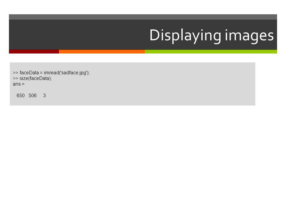 Displaying images >> faceData = imread('sadface.jpg'); >> size(faceData); ans = 650 506 3