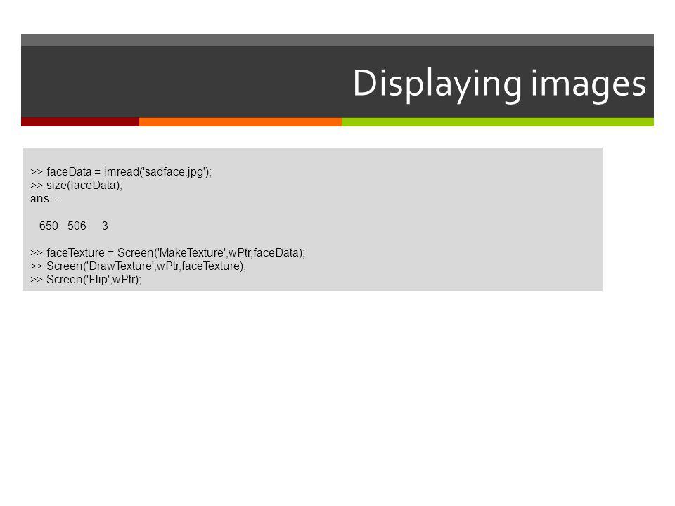 Displaying images >> faceData = imread('sadface.jpg'); >> size(faceData); ans = 650 506 3 >> faceTexture = Screen('MakeTexture',wPtr,faceData); >> Scr