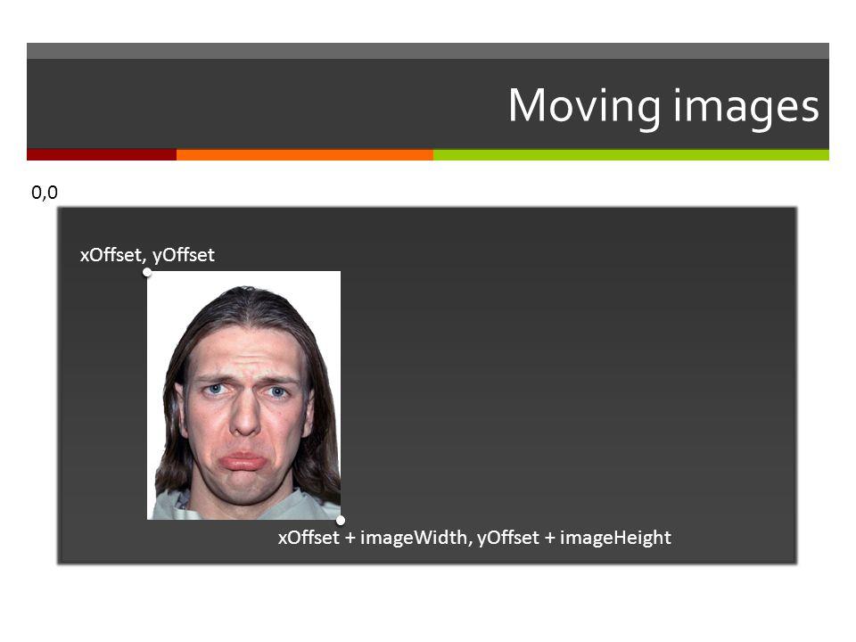 Moving images 0,0 xOffset, yOffset xOffset + imageWidth, yOffset + imageHeight