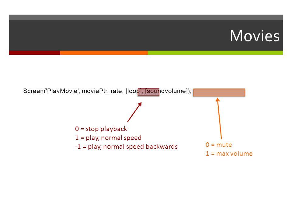 Movies Screen('PlayMovie', moviePtr, rate, [loop], [soundvolume]); 0 = stop playback 1 = play, normal speed -1 = play, normal speed backwards 0 = mute